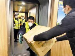 """天津企业捐赠医用面罩 """"乘""""高铁奔赴武汉"""