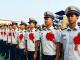天津静海区消防救援支队举行退出消防员向战车告别仪式
